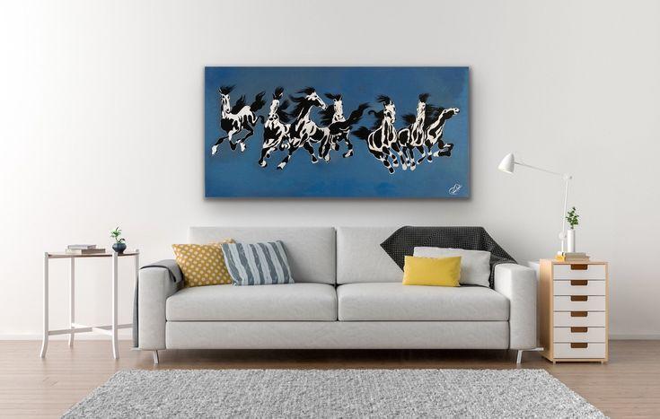 Original Handmade Painting 7 Running Horses Paintingvastu Etsy Silver Leaf Painting Abstract Horse Painting Horse Painting Paintings for living room vastu