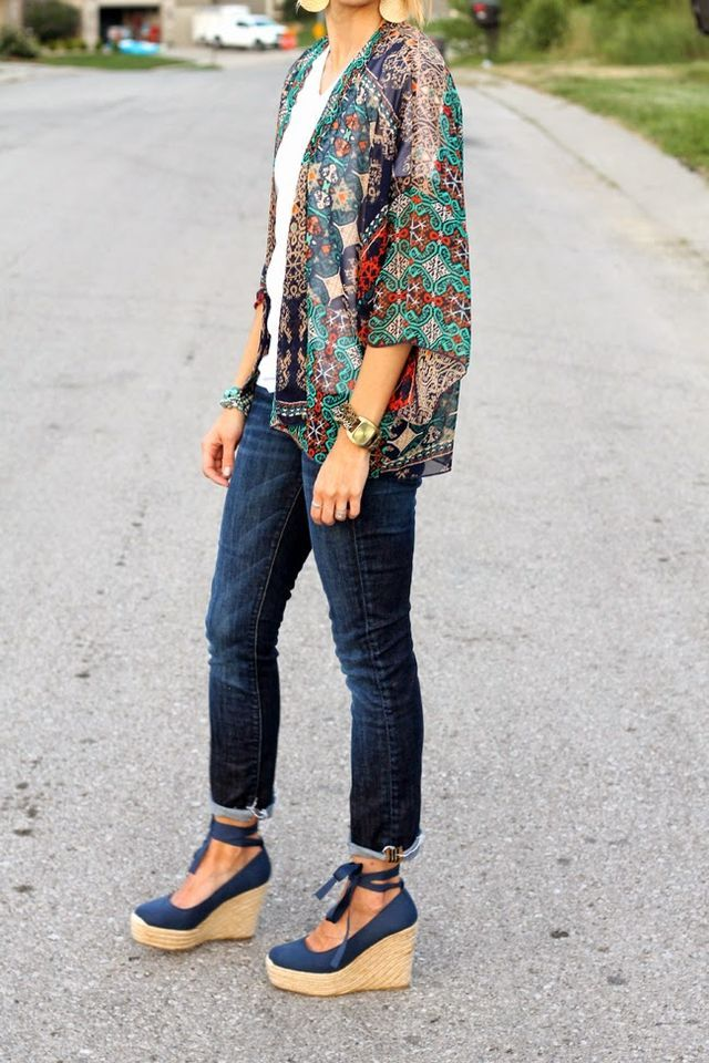 What I Wore - Kimono and Espadrilles | ONE little MOMMA | Bloglovin'