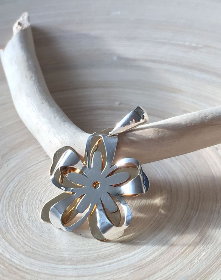 Sterling Silver and Tumbaga Daisy Pendant