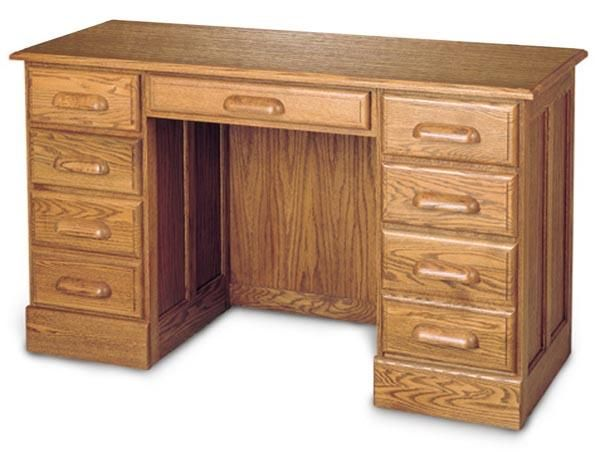 """Solid Oak 54"""" Double Pedestal Computer Desk with Finish Options"""