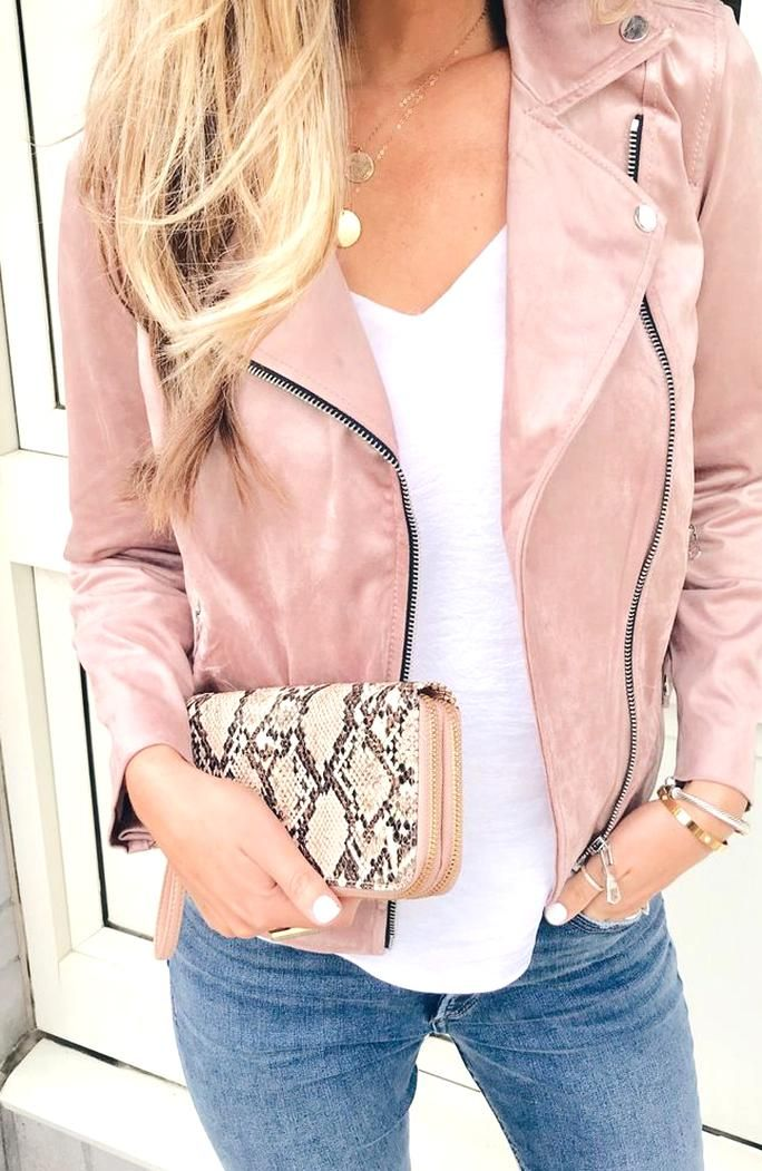 Fashion Blogger Wearing Loft Rosy Pink Mauve Faux Suede Moto Jacket Pink Moto Jacket Pink Jacket Outfit Suede Jacket Outfit