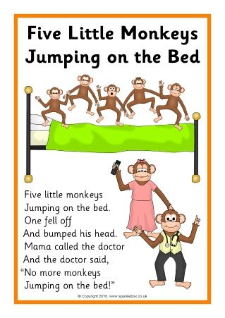 Five Little Monkeys Jumping on the Bed Song Sheets (SB11704) - SparkleBox