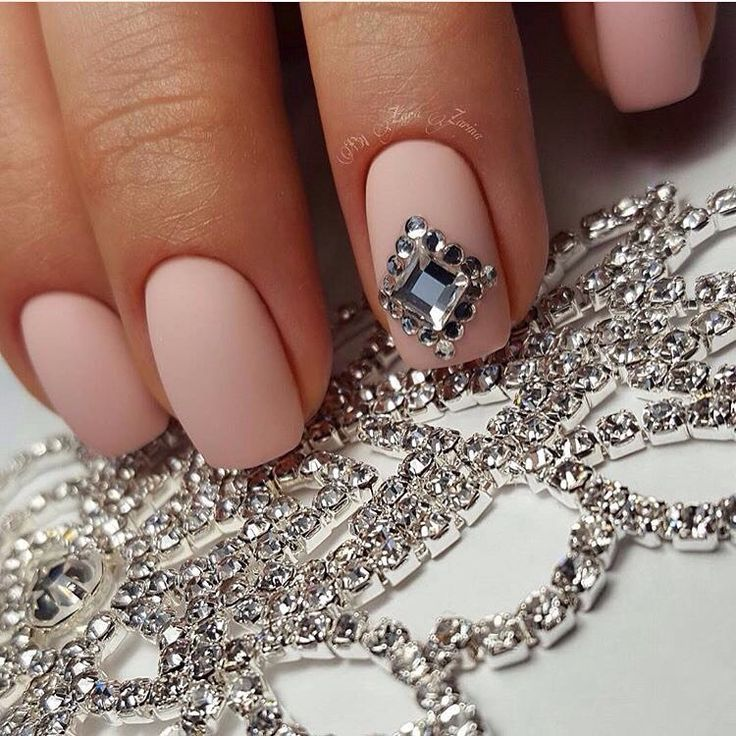Beige nails with rhinestones, Evening dress nails, Graduation nails, Ideas of…