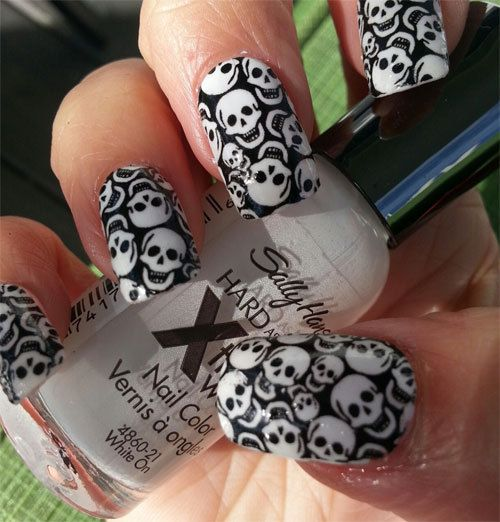 TINY SKULLS Nail Art Decals Full Nail Decoration by NorthofSalem