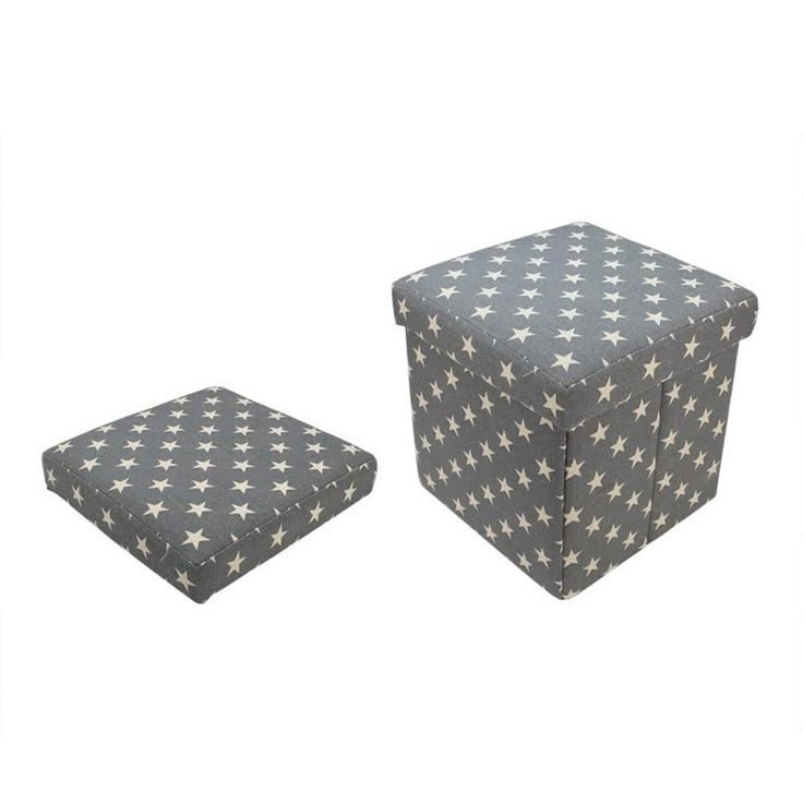 12 Decorative Gray and White Star Collapsible Sqaure Storage Ottoman (Canvas)