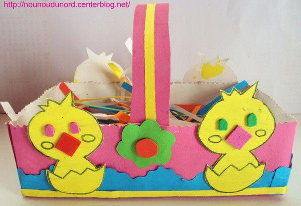 Panier de Pâques rose réalisé avec un boite de mouchoir , explications sur mon blog