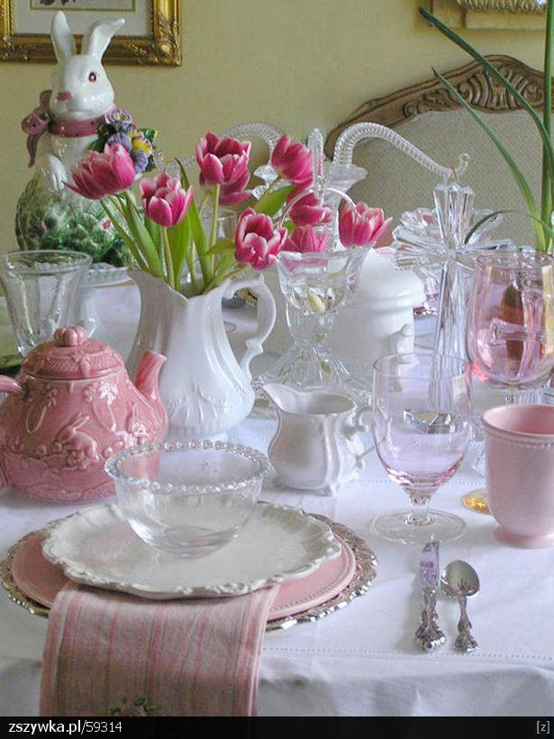 Wielkanocny stół: Holiday, Tea Party, Tablesettings, Table Settings, Idea, Tablescapes, Easter Spring