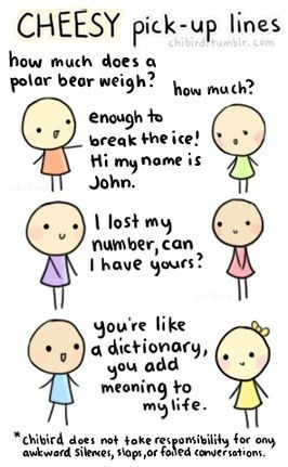 cheesy pick-up lines.  so cute.