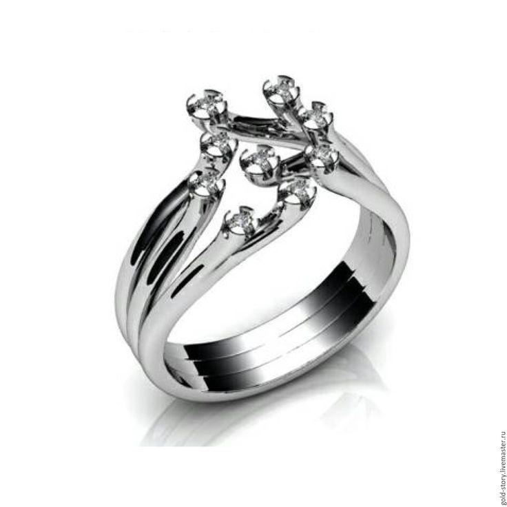 Купить или заказать Золотое кольцо из белого  золота с брилиантами в интернет-магазине на Ярмарке Мастеров. золотое кольцо из белого золота ,9 бриллиантов 1.3 мм вес кольца примерно 8 грамм возможно изготовить из желтого золота любой…