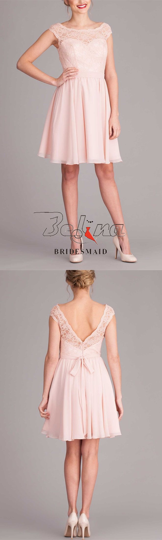 Sweet Blush Lace Illusion Neck Short Pleated Chiffon A-Line Bridesmaid Dress - See more at: http://www.belinabridesmaid.com/sweet-blush-lace-illusion-neck-short-pleated-chiffon-a-line-bridesmaid-dress-blb20074