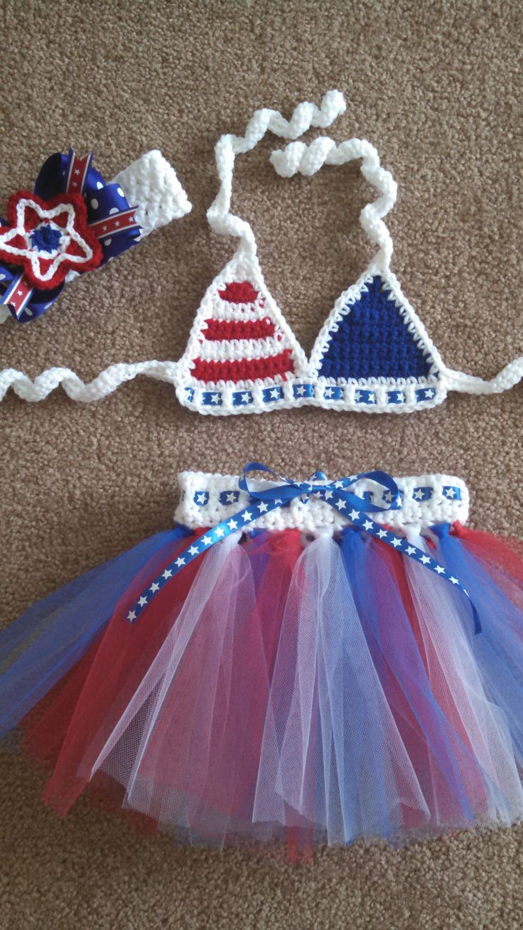 Miss USA Crochet Baby Bikini Set 12 mos2T by DesignsByJennyWren, $50.00