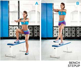 Bodybuilding.com - The Secret To Gorgeous Glutes - EXERCISE 4// BENCH STEP UP