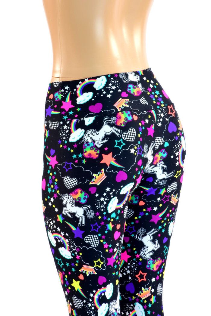 UV Glow Unicorn and Rainbow High, Wide Waistband Leggings Lycra Spandex for Yoga Neon Run -E8223 by CoquetryClothing on Etsy https://www.etsy.com/listing/202551720/uv-glow-unicorn-and-rainbow-high-wide