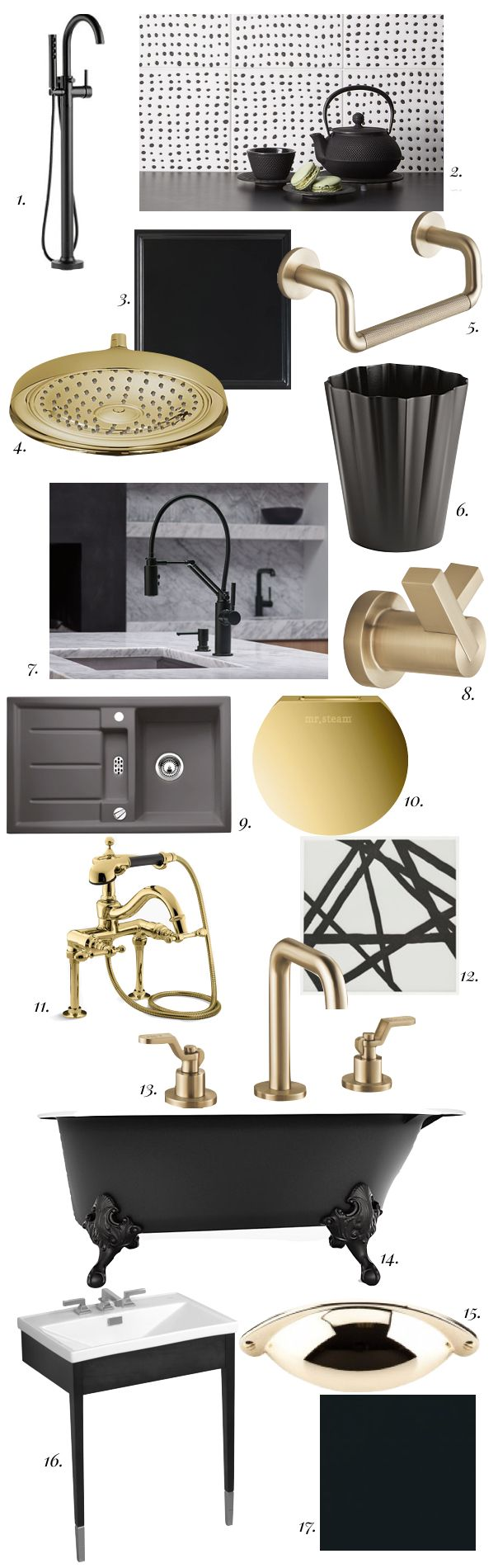 Hot Kitchen and Bath Trend: Matte Black and Brass | Pulp Design Studios. Top Knobs Somerset Cup Pull in Polished Brass featured. #cabinethardware