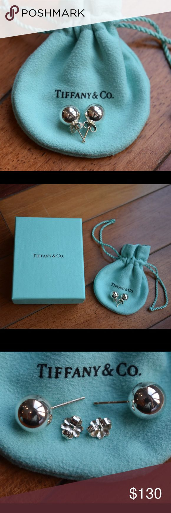 Authentic Tiffany & Co. Silver Ball Earrings, 10mm Tiffany & Co Silver Ball Earrings 10mm Studs with flower backs, .925 sterling silver, Perfect condition, only worn a handful of times, recently cleaned, includes Tiffany drawstring bag and box, 100% Authentic! Tiffany & Co. Jewelry Earrings