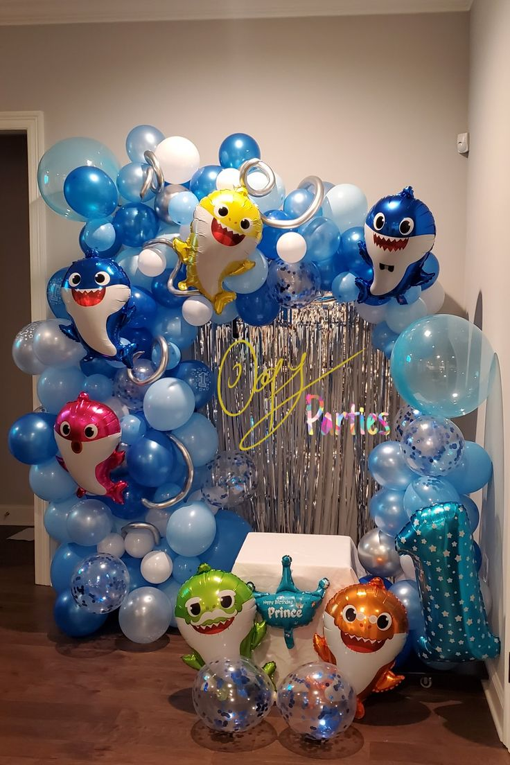 Created this beautiful Baby Shark themed balloon arch for