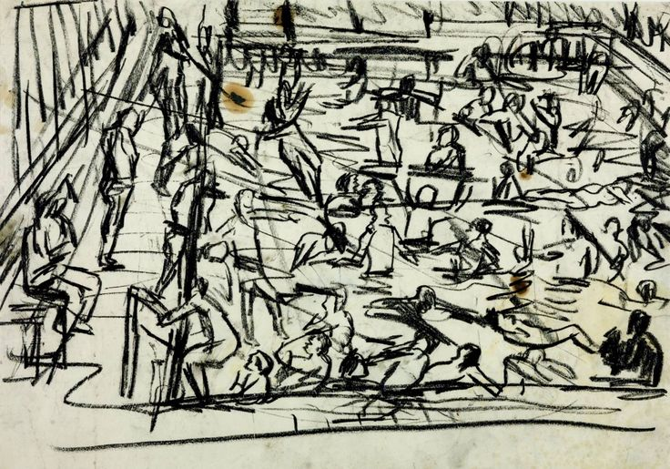 Leon Kossoff 'Drawing for 'Children's Swimming Pool'', 1971 © Leon Kossoff