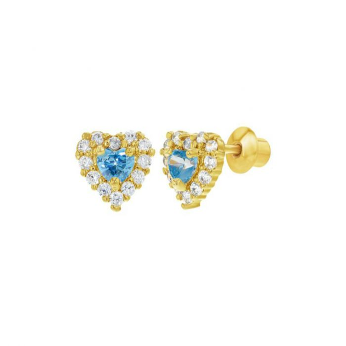 Baby and Children's Earrings:  18k Gold Filled Blue/White CZ Hearts with Screw Backs.  Lots of new baby and children's screw back earrings at Baby Jewels.