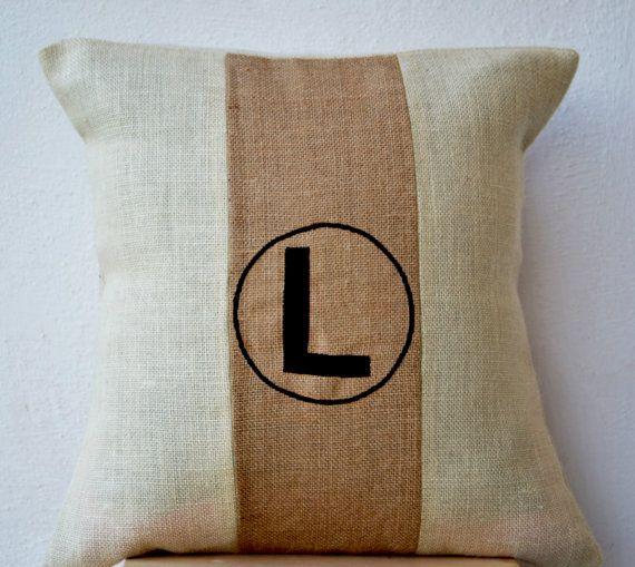chic monogram burlap pillow throw pillow color block decorative pink cushion cover burlap