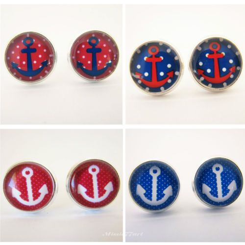 Hello Sailor! Retro 1950's Style Rockabilly Pin Up Anchor Silver Stud Earrings now available in four colour ways - Missie77art Jewellery on ebay