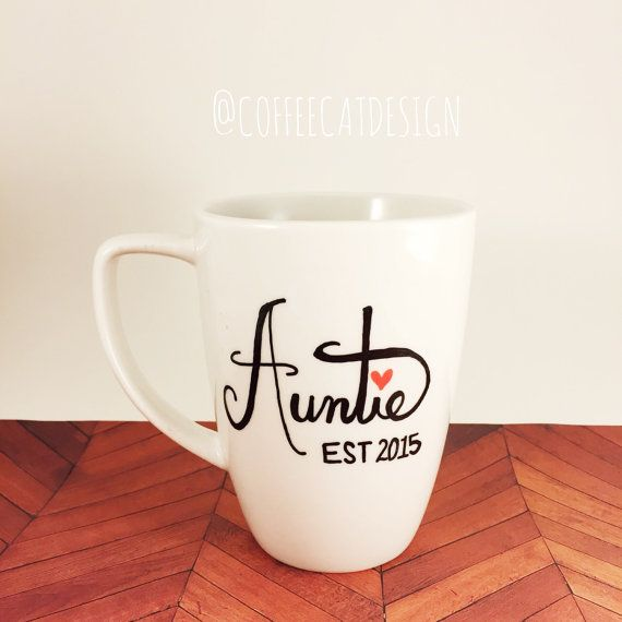 Auntie or Aunt Coffee Mug // Sweet Gift For by CoffeeCatDesign
