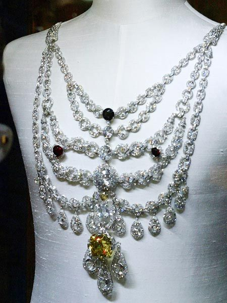 The Patiala necklace was created by Cartier for Maharaja Bhupinder Singh of Patiala in 1928. Made of platinum and studded with over 2,000 diamonds--including the world's seventh largest DeBeers diamond--it is probably one of the most expensive pieces of jewelry ever made.