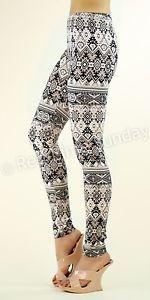 Nuevas-mujeres-Lindo-Azteca-Tribal-etnico-patron-de-Algodon-Estampado-Calzas-ajustados-pantalones