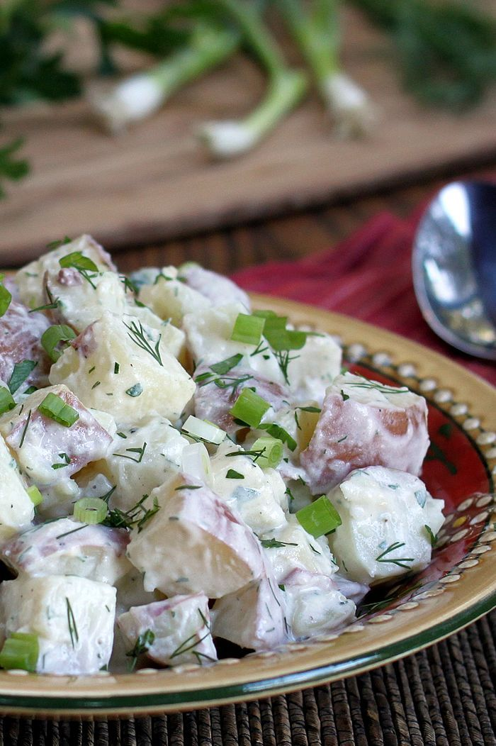 Yogurt Dill Potato Salad. A lighter, healthy take on creamy potato salad with a flavor boost from fresh herbs. It's a crowd pleaser! From TheYummyLife.com
