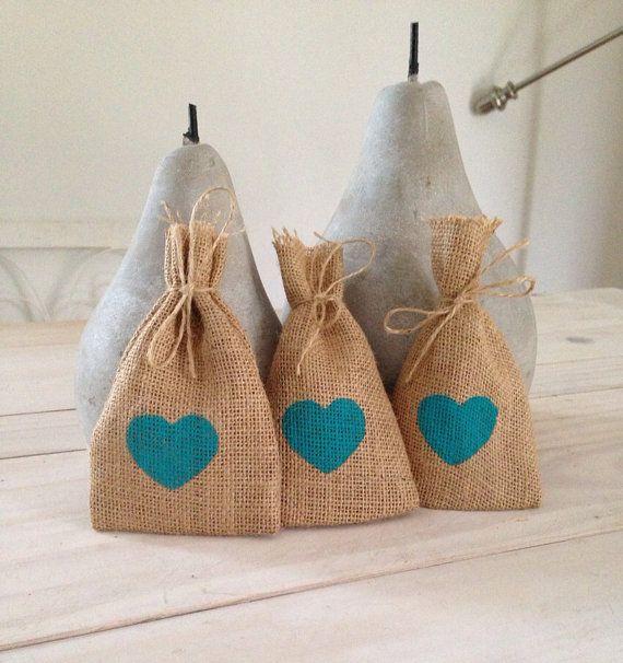50 Aqua Hessian/ Burlap Wedding Favor Bags by BreeWestwood on Etsy, $75.00