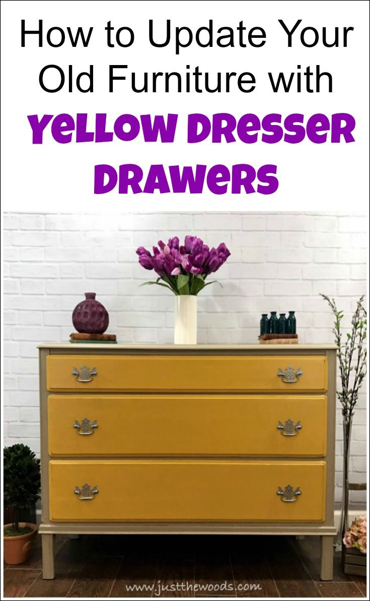 Yellow dresser drawers add just enough color to a painted furniture update without being over the top. Yellow furniture can be bold or neutral depending on which direction to take. This vintage dresser painted in mustard yellow with neutral taupe keeps the makeover neutral. | yellow dresser | mustard dresser | yellow furniture | yellow bedroom furniture | yellow painted dresser | mustard yellow dresser | yellow chest of drawers, |  yellow vintage dresser | painting furniture yellow via…