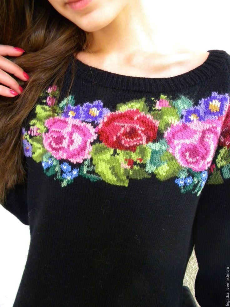 """Купить Джемпер с вышивкой""""Любимые розы"""". - черный, свитер женский, свитер вязаный, свитер спицами"""