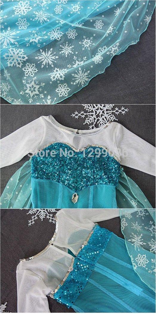 Nuevo 2014 Alta Parte Frozen Fantasia Girls Calidad Fantasía Kids princesa Elsa traje del vestido + 10 / pcs envío gratuito