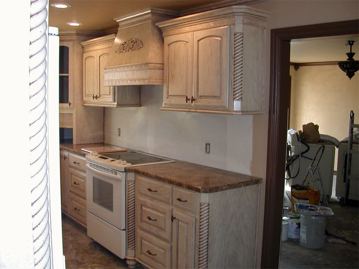 Unique White Washed Oak Kitchen Cabinets