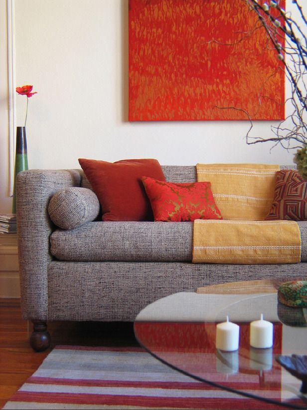 Designer Greta Goss used deep orange and red in this Asian-inspired living room.