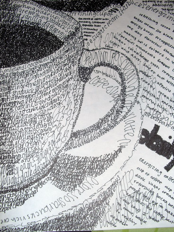 Coffee cup. Pen Ink. Made up of all words.