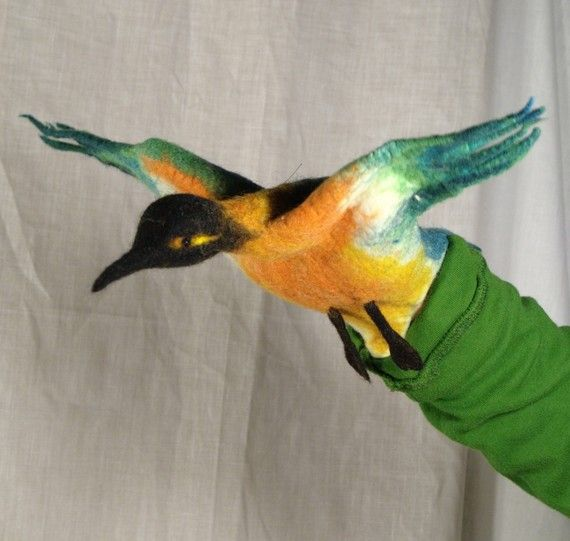 Fantasy bird in colors hand puppet wet felted by geklara on Etsy   Craft Juice