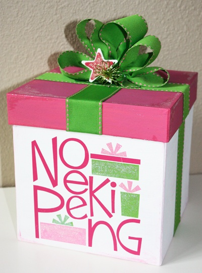 """""""No Peeking"""" vinyl lettering applied to a decorative gift box. Adorable Christmas decor idea! See more designs and ideas at www.lacybella.com"""