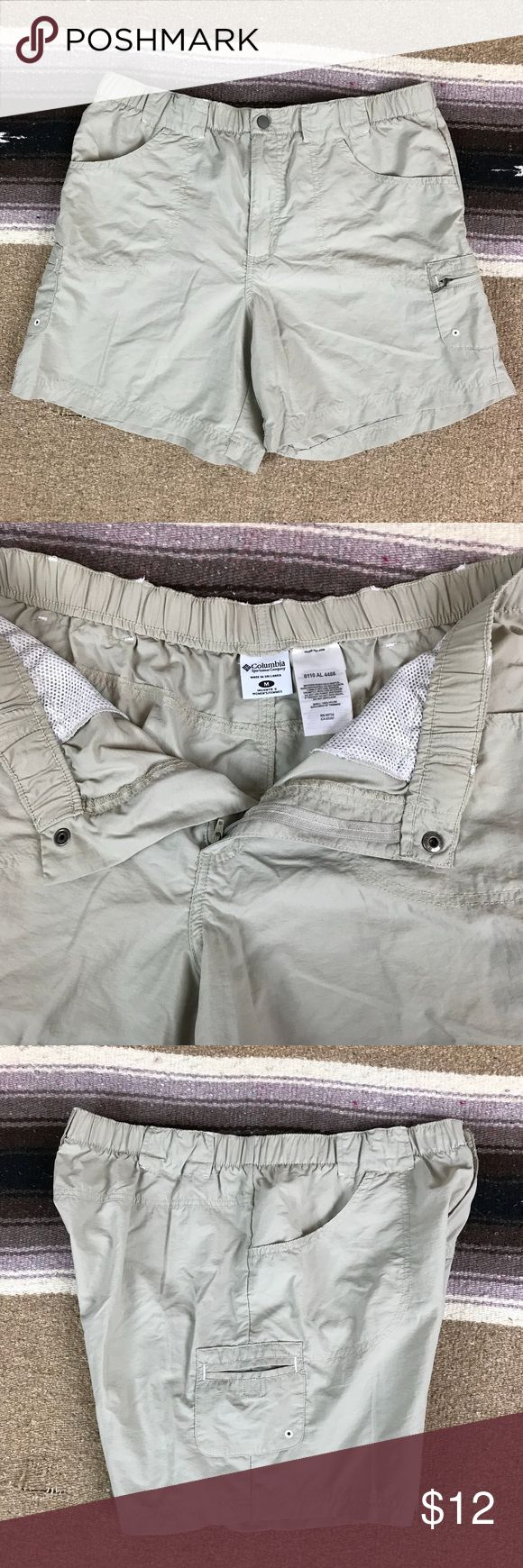 "Columbia Nylon Hiking Outdoor Shorts, Size Medium - Columbia Sportswear Company - Women's size medium - In good condition! - 100% nylon - Waist: 32"" - Rise: 11"" - Inseam: 6"" - Length: 16"" Columbia Shorts"