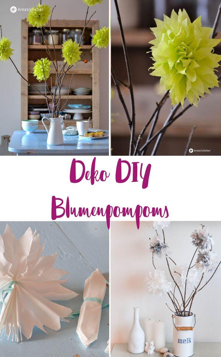 Deko DIY, Blumenpompoms Selbermachen, Pompoms Aus Servietten, Hochzeitsdeko  Idee, Deko Für Die