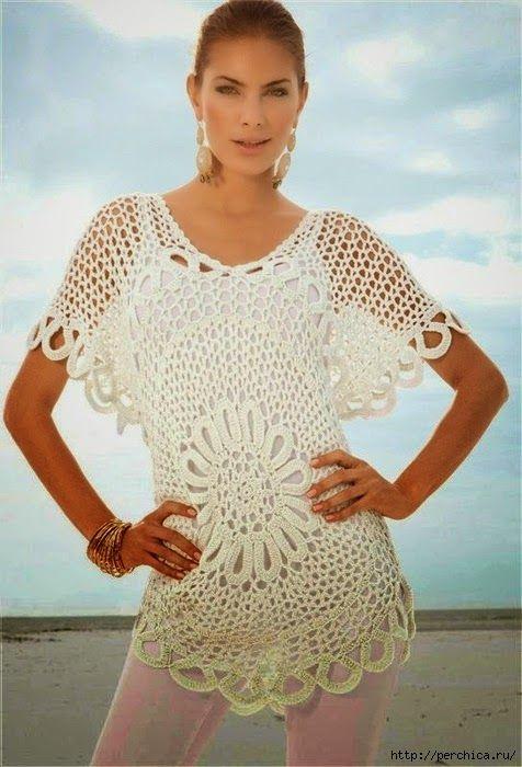 Blusa centro de flor - con patrón   Crochet y Dos agujas