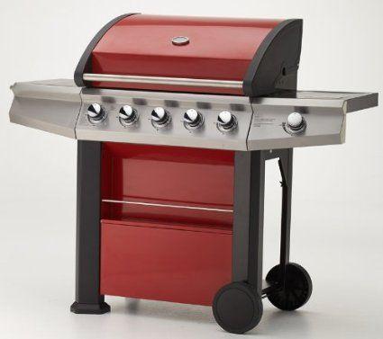Gasgrill MAXXUS® BBQ CHIEF 7.0 rot - 5 Edelstahlbrenner, doppelwandige Haube, Seitenbrenner, Fettwanne