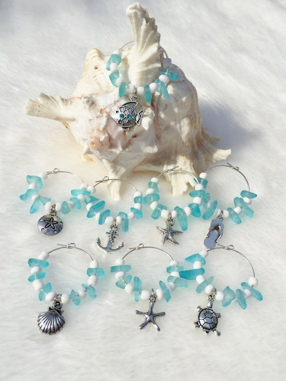 Check out this item in my Etsy shop https://www.etsy.com/listing/259761452/blue-wine-charms-beach-themed-pendants