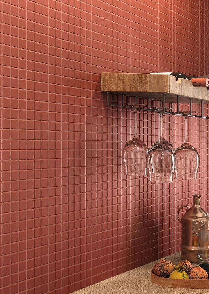 #Neutral | #Marazzi | #kitchen | #mosaic | #walltiles | #ceramics | #red