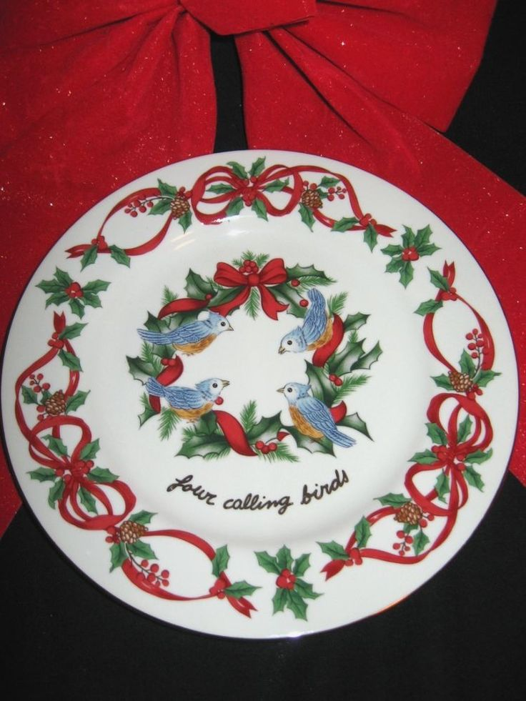 "Noble Excellence China 12 Days of Christmas Salad  Plate 7 1/2"" #4 Calling Birds #NOBLEEXCELLENCE"
