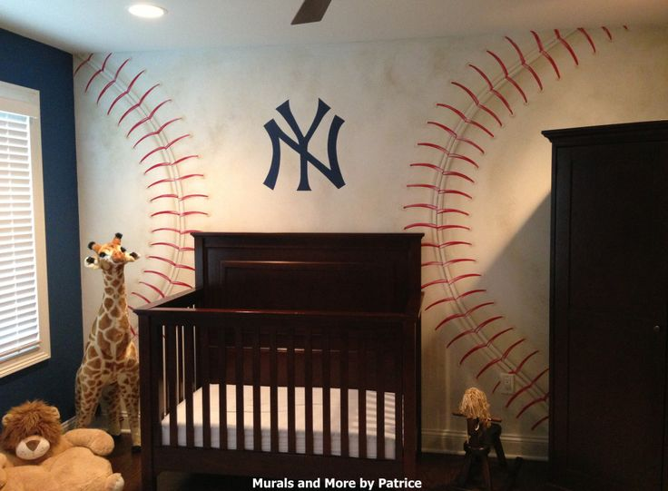 NY Yankees Nursery - what a great baseball accent wall {by @muralsbypatrice}Baseball Wall, Yankees Nurseries, Baby Boys, Jam N, Projects Nurseries, Baby Room, Projectnursery, Boys Room, Baby Nurseries