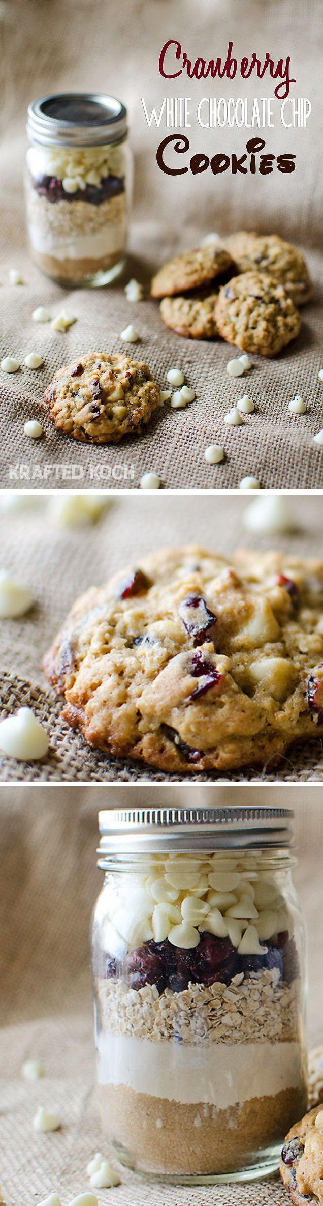 Cranberry White Chocolate Cookies in a Pint Jar.