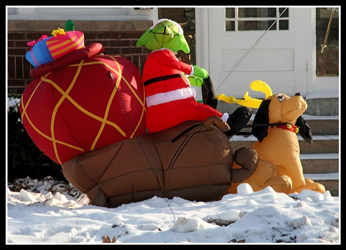 Christmas blow ups | Inflatable Grinch for Christmas Light Show