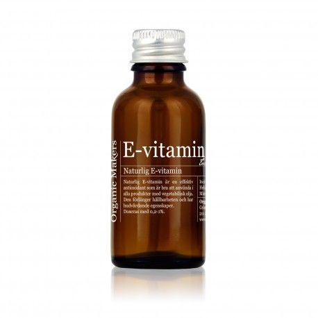 Naturlig och GMO-fri E-vitamin är en effektiv antioxidant som är bra att använda i alla hudvårdsprodukter med vegetabiliska oljor och fetter.
