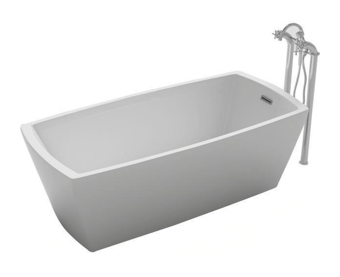 Baignoire Ilot Rectangulaire Design 168x75 Cm En Acrylique Blanc