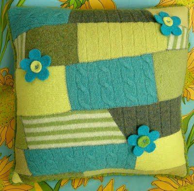 Love this wool scraps pillow  betz white